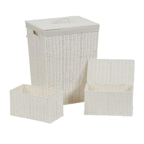 Household Essentials White Paper Rope Hamper and Storage Set