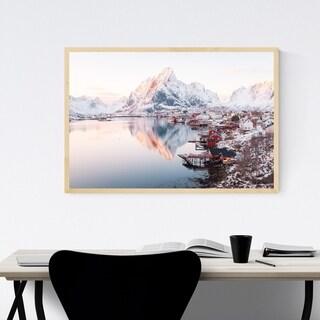 Noir Gallery Reine Norway Lofoten Mountains Framed Art Print