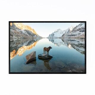 Noir Gallery Dog Mountains Lake Norway Framed Art Print