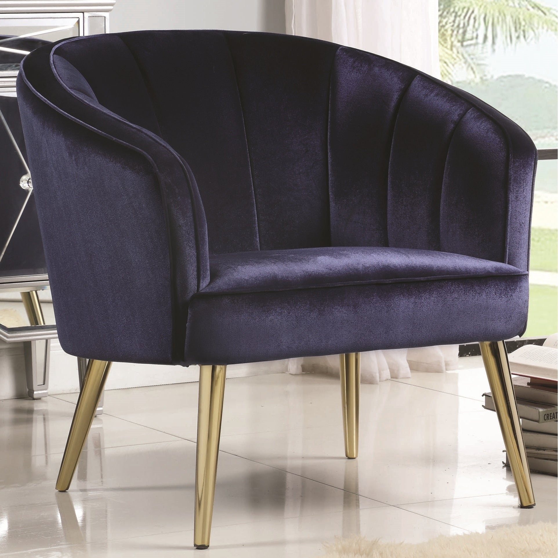 Blue Velvet/Brass Contemporary Living Room Accent Chair