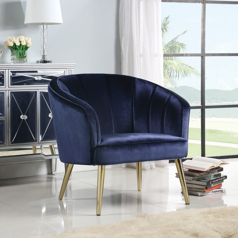 Blue Velvet Brass Contemporary Living Room Accent Chair