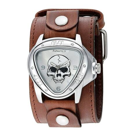 Nemesis 'Heavy Duty Skull' Triangle Case Watch with Faded Brown XL Stitched Leather Cuff Band FBLBB936S