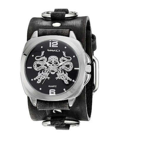 Nemesis 'Dragon King of Skulls' Watch with Black Ring Leather Cuff Band KFRB910KK