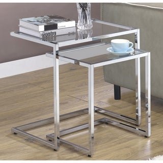 Modern Design Chrome and Glass 2-piece Nesting Table Set