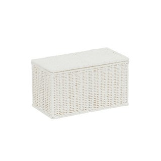 Household Essentials Decorative Wicker Chest with Lid for Storage and Organization