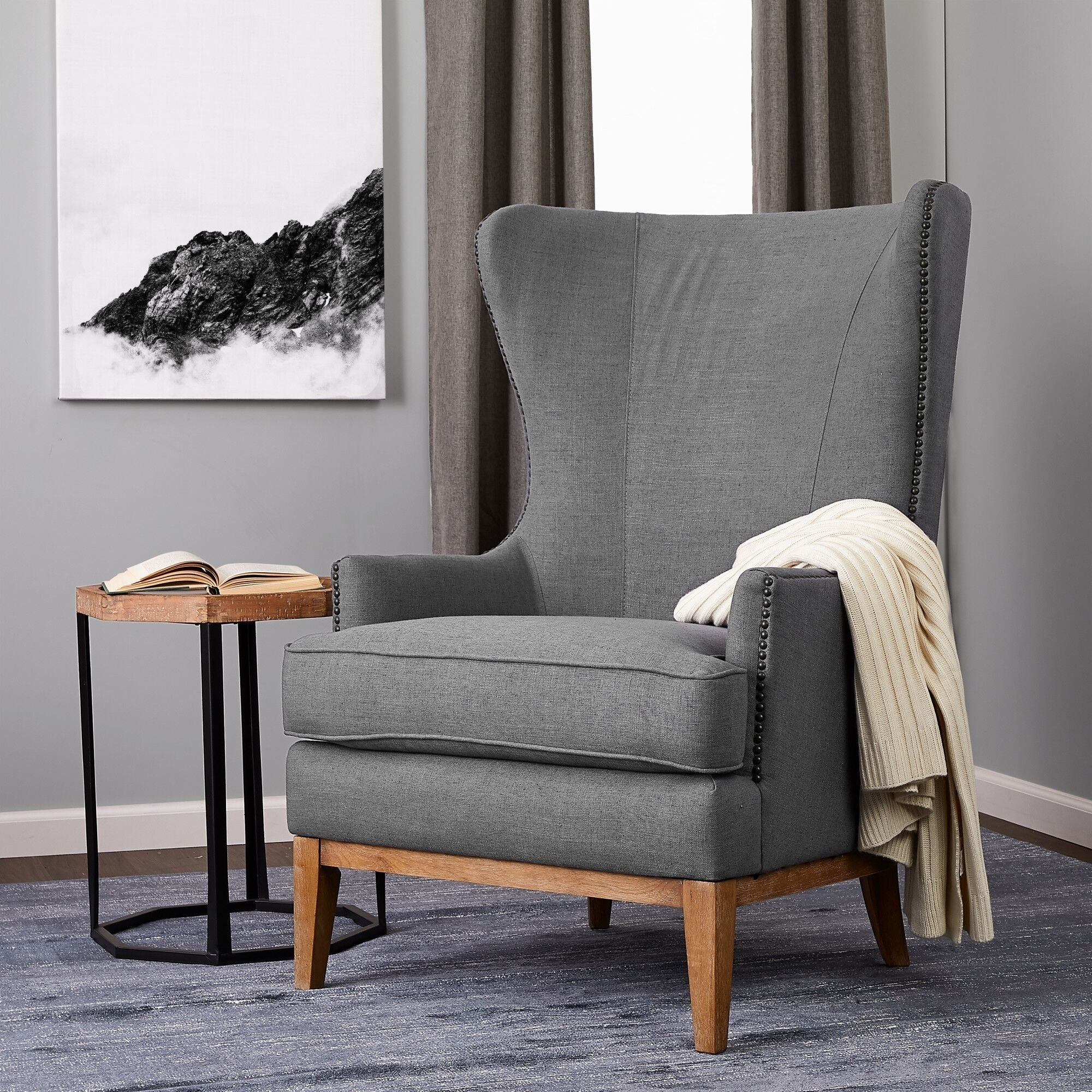 Finch Clarence Grey Nailhead Wingback Chair