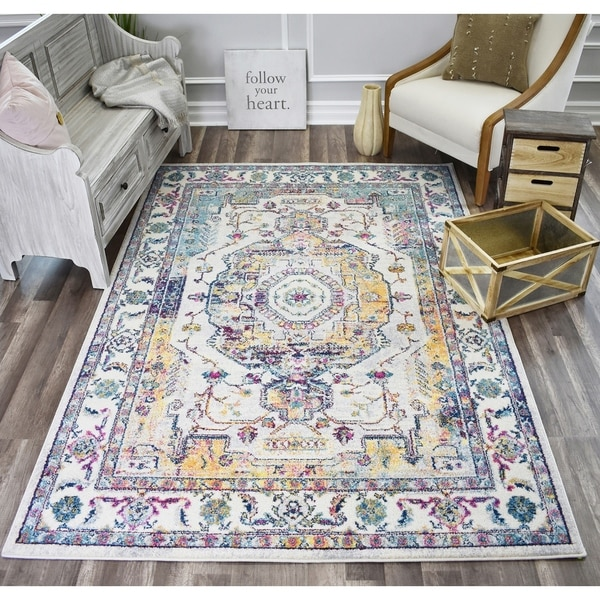 Skylar Wicker Ivory Soft Touch Tranisitional Vintage Area Rug
