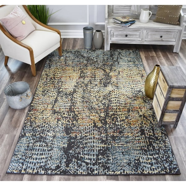 Sela Mustang Blue SoftTouch High Low Tranisitional Vintage Area Rug