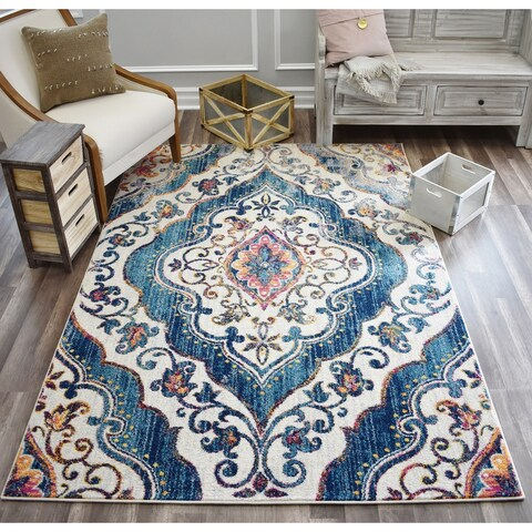 Skylar Marble White Soft Touch Tranisitional Vintage Area Rug