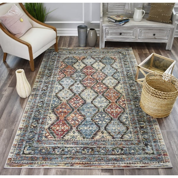 Sela Shaker Blue SoftTouch High Low Tranisitional Vintage Area Rug