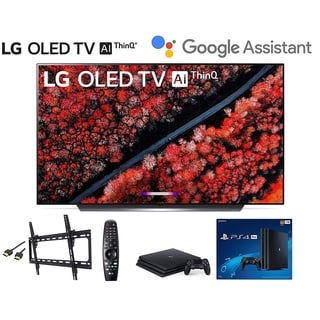 LG C9 Series 65-inch 4K Smart OLED TV w/ PS4 Pro 4K, Wall Mount Kit, HDMI Cable - Black
