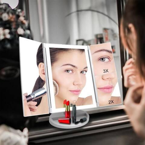 180 Degree Rotation 36LED Makeup Mirror Desktop Cosmetic Makeup Mirror - White