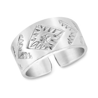 Handmade Carved Floral Inspired Wide Sterling Silver Cuff Ring Thailand