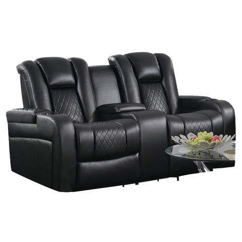 Contemporary Style Padded Plush Leatherette Power Motion Loveseat, Black