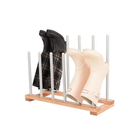 INNOKA Birch Wood 6-Pair Boot Rack Organizer w/ Steel Bars for Riding Rain Boots - Preserves Boot Shape in Upright Position