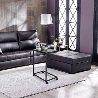 Simple Removable Iron Sofa End Table C-Shape Side Coffee Table with Wheel