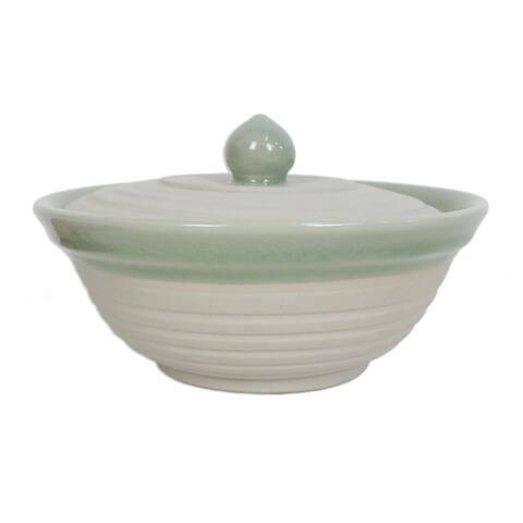Handmade Orbits Celadon ceramic bowl