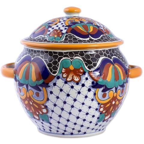 Handmade Zacatlan Flowers Ceramic tureen