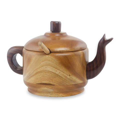 Handmade Tea Time Mahogany and hormigo wood sugar bowl (3 pieces)
