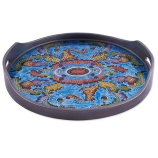 Handmade New Blue Bloom Reverse painted glass tray