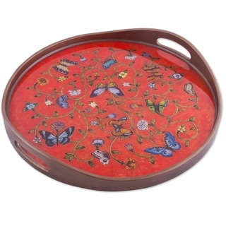 Handmade Breathtaking Garden Reverse painted glass tray