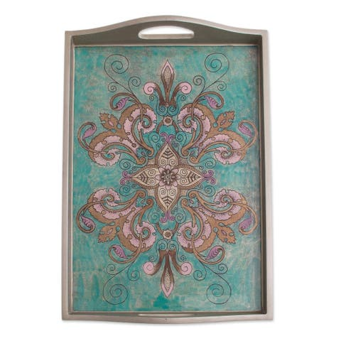 Handmade Enchanting Flowers in Teal Reverse-painted glass tray