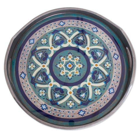 Handmade Floral Intricacy in Steel Reverse-painted glass tray