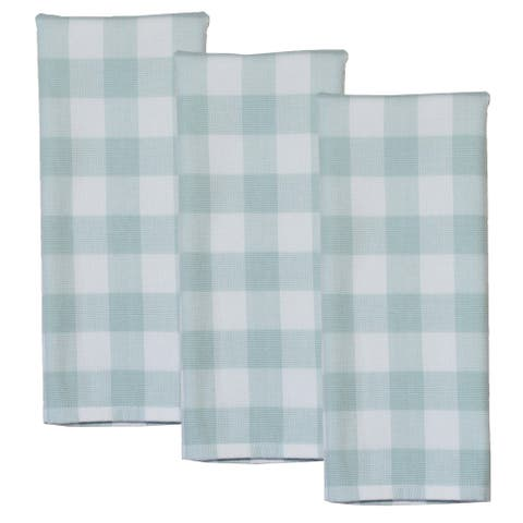 Dunroven House Mint and White Buffalo Check Terry Cloth Kitchen Towels Set of 3