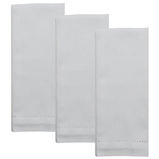 Dunroven House Cotton Linen Hemstitch Hand Towel Set of 3