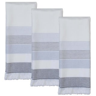 Dunroven House Blue and Gray Fringe Terry Cloth Kitchen Towels Set of 3