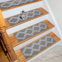 """Ottohome Patterned Non-Slip Pet-Friendly Stair Treads in Grey Set of 7 (8.5"""" x 26"""") (As Is Item)"""