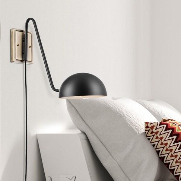 Porch & Den Chris Matte Black 1-light Plug-in Wall Sconce