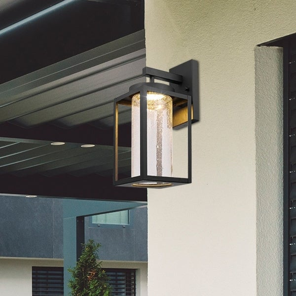 Cresthall Black LED Integrated Outdoor Indoor Wall Sconce by Havenside Home. Opens flyout.