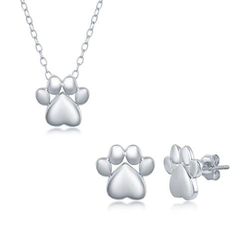 """La Preciosa Sterling Silver High-Polished Paw Print 16+2"""" Necklace and Earrings Set"""