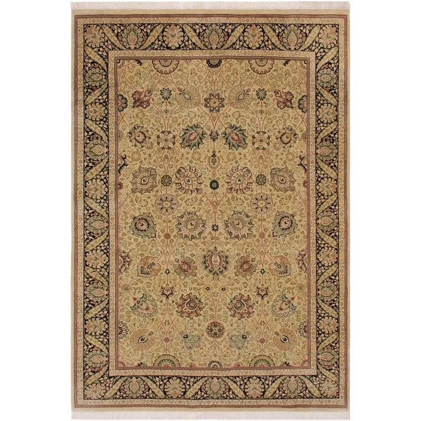 "Pak-Persian Bobbye Tan/Black Wool Rug (6'2 x 9'4) - 6'2"" x 9'4"""