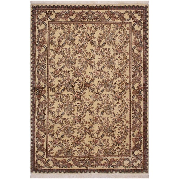"Cris cross Pak-Persian Branda Ivory/Rust Wool Rug (6'3 x 9'1) - 6'3"" x 9'1"""