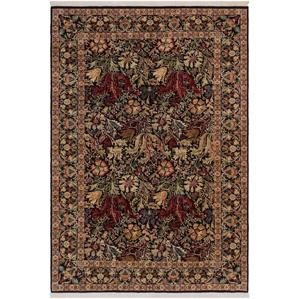 "Gulshan Ayub Pak-Persian Annalee Black/Red Wool Rug (6'1 x 8'11) - 6'1"" x 8'11"""