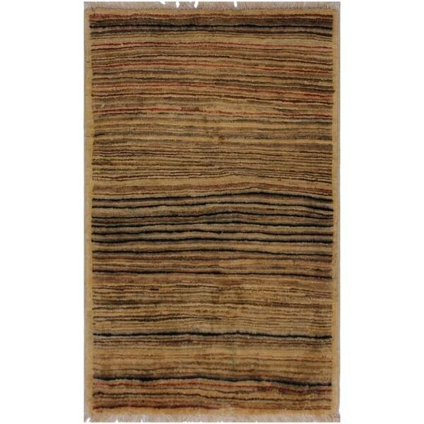 "Modern Gabbeh Scarlett Tan/Rust Wool Rug (1'10 x 2'10) - 1'10"" x 2'10"""