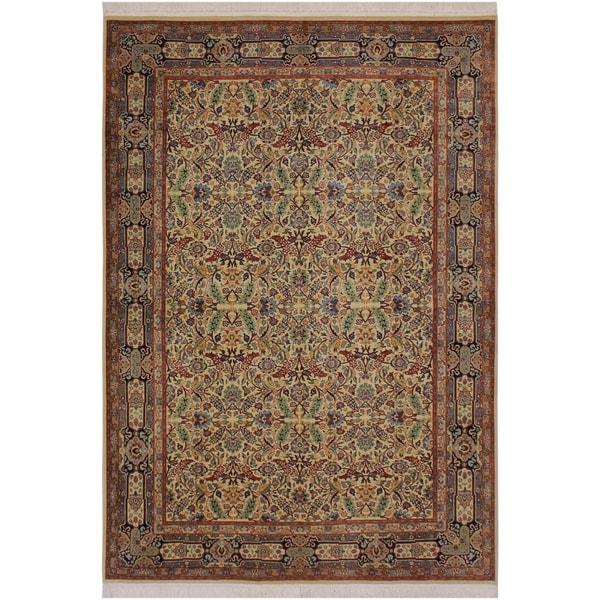 "Farooq Pak-Persian Merlene Ivory/Blue Wool Rug (6'1 x 9'3) - 6'1"" x 9'3"""