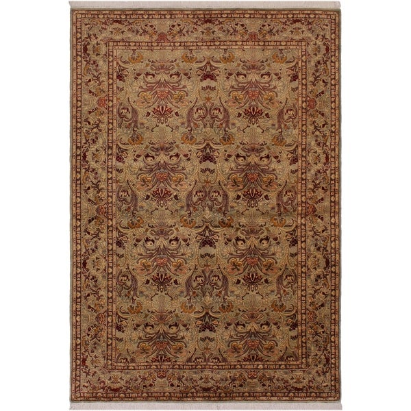 "Pak-Persian Evelin Lt. Green/Red Wool Rug (6'1 x 9'4) - 6'1"" x 9'4"""
