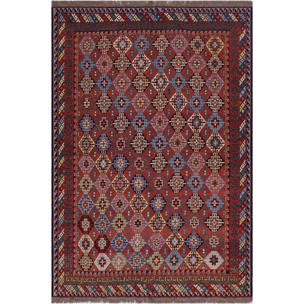 "Semi-Antique Soumakh Zulma Rust/Blue Wool Rug (6'4 x 8'6) - 6'4"" x 8'6"""