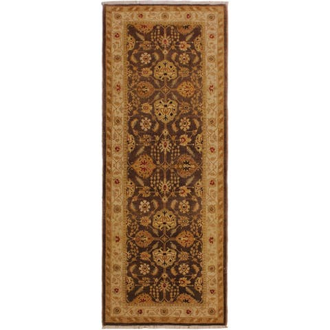 """Antique Vegetable Dye Jame Brown/Ivory Wool Rug (3'2 x 8'1) - 3'2"""" x 8'1"""""""