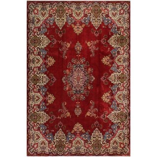 Cordova Red and Ivory Wool Semi-Antique Rug - 10'7 x 13'