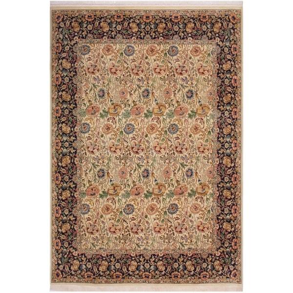 "Irfan Pak-Persian Daniell Ivory/Blue Wool Rug (8'1 x 10'0) - 8'1"" x 10'0"""