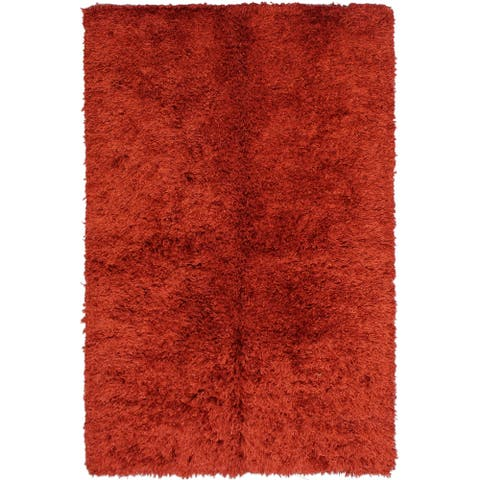 """Hand-Knotted Shag area rug Cooney Red/Rust - 5'0 x 8'0 - 5'0"""" x 8'0"""""""