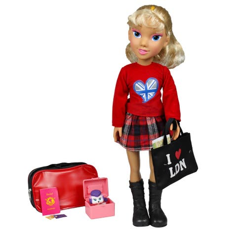 "19"" Blonde Rachel Vacation Doll Set in London - Red"