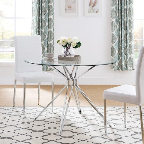 Silver Orchid Alan Silver Metal and Glass Contemporary Dining Table