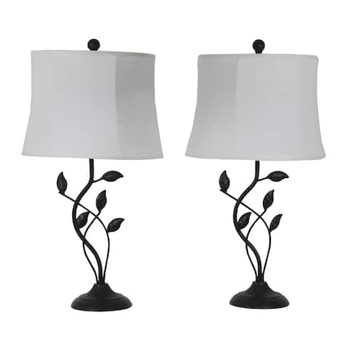 Olivia Leaf Bronze Finish Metal Modern Table Lamps (Set of 2)