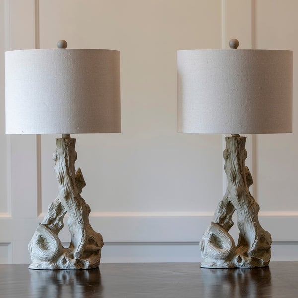 Camden Driftwood Resin Table Lamps (Set of 2)