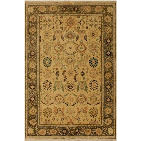 "Lizzette Ivory/Green Wool Rug (4'2 x 5'11) - 4'2"" x 5'11"""